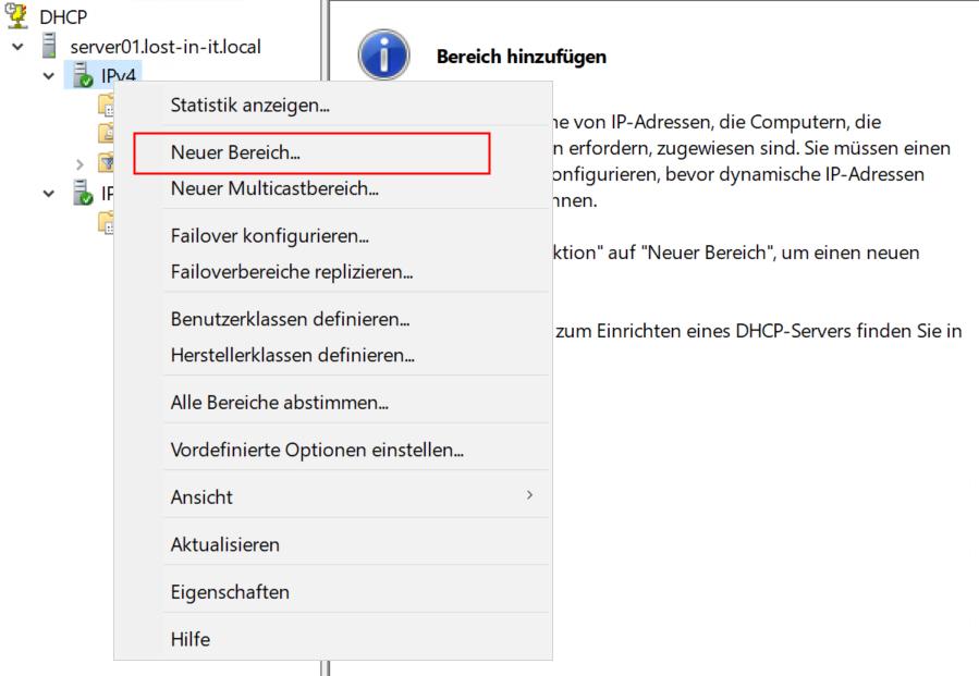 DHCP Server - Neuer Bereich erstellen