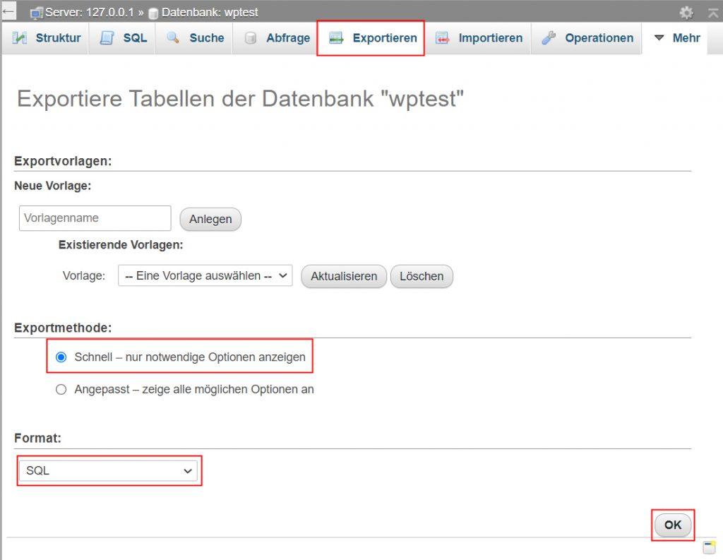 Datenbank exportieren phpmyadmin