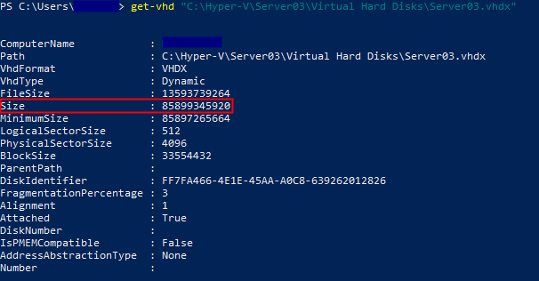 Eigenschaften einer VHDX-Datei in PowerShell