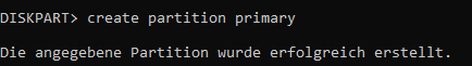 Neue primäre Partition erstellen in Diskpart