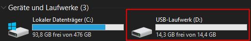 USB-Stick nach Reparatur mit Diskpart