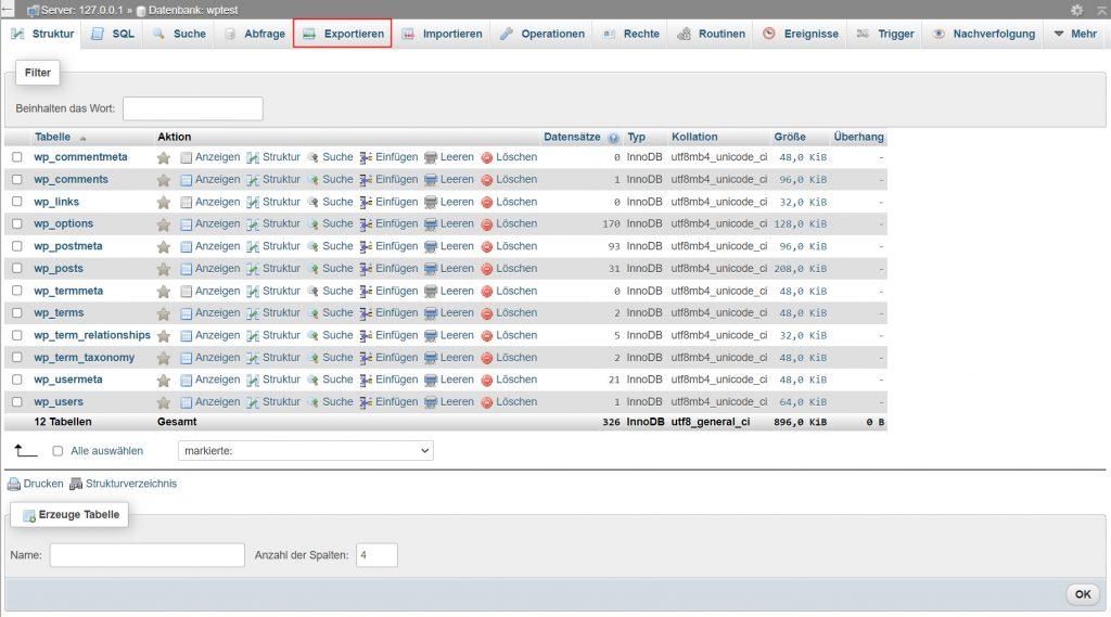 WordPress Datenbank exportieren
