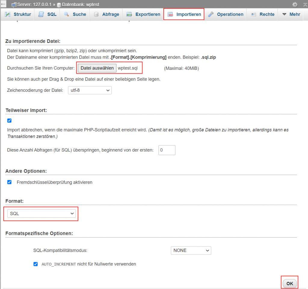 WordPress Datenbank migrieren