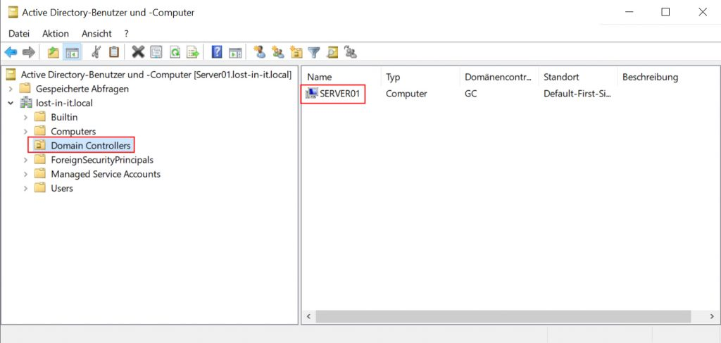 Active Directory Benutzer und Computer - OU Domain Controllers