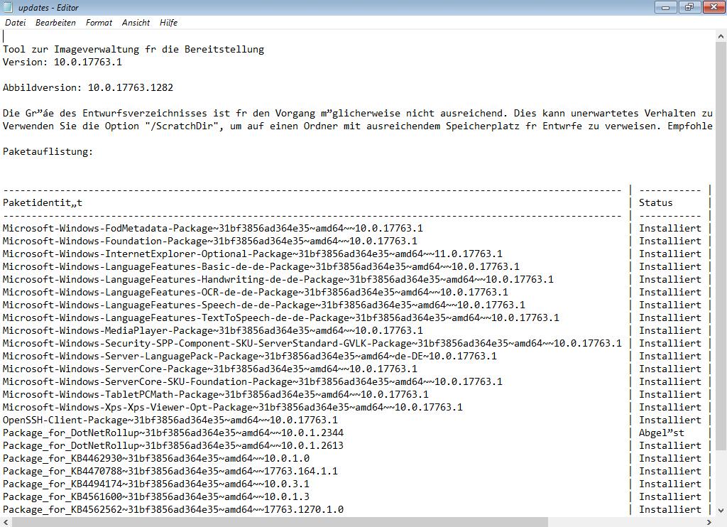Alle installierten Updates anzeigen lassen mit CMD